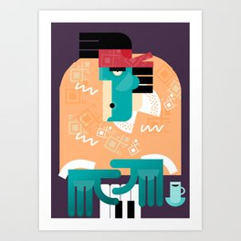 Joe Plays the Blues. Art Print. Art Print