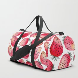 Strawberries watercolor and ink Duffle Bag