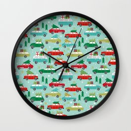 Christmas car tradition christmas trees holiday pattern winter festive Wall Clock