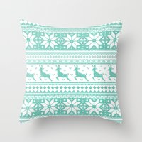 sweater Throw Pillows featuring Reindeer Sweater by Kelsey Bruxvoort