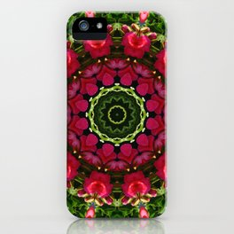 Floral mandala-style, red blossoms iPhone Case