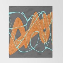 Grey orange and blue Throw Blanket