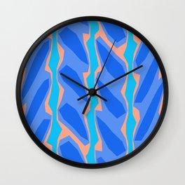 Blue Aqua Pink Crackle Minimal Wall Clock