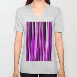 Plum Purple and and Burgundy Stripy Lines Pattern Unisex V-Neck