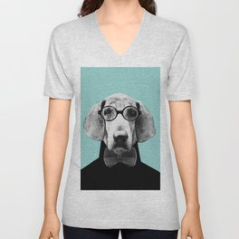 Mr Italian Bloodhound the Hipster Unisex V-Neck