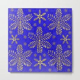 DP044-4 Gold snowflakes on blue Metal Print