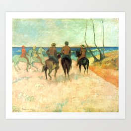 "Paul Gauguin ""Cavaliers Sur La Plage (II)"" Art Print"