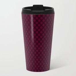 Burgundy Polka Dots Pattern Travel Mug