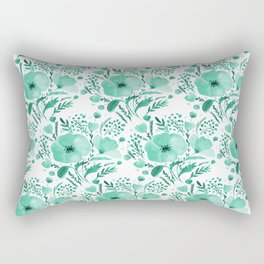Flower bouquet with poppies - aqua Rectangular Pillow