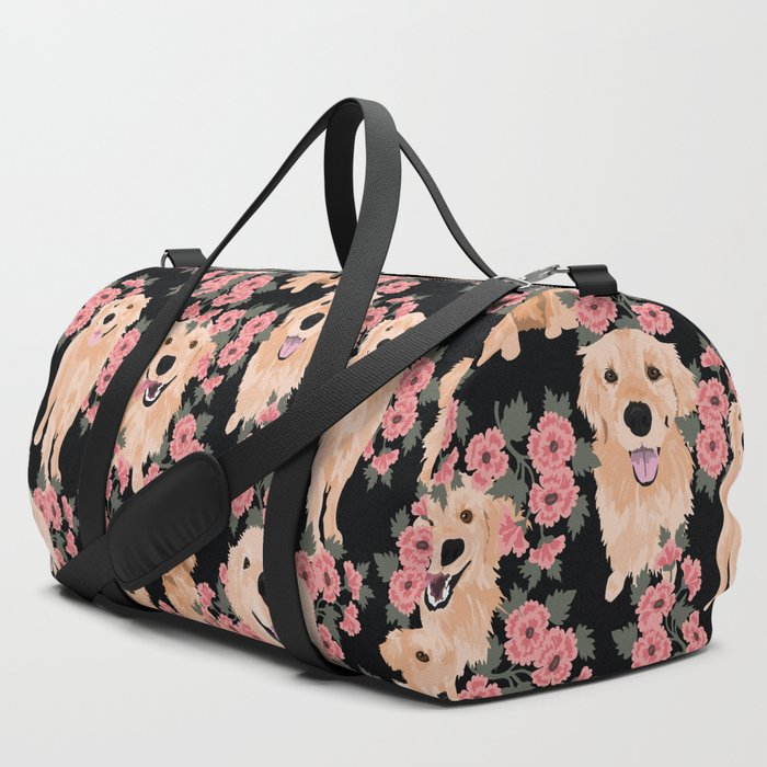 Golden_Retrievers_and_flowers_on_Black_Duffle_Bag_by_Teri_Martin__SET_OF_3