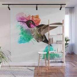 Humming bird Poly + painsplash Wall Mural
