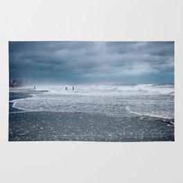 Cloudy Beach Morning Rug