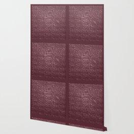 Burgundy Spiral Diamond Pattern Wallpaper