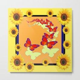 Monarch Butterflies Sunflowers Cumin Color & Yellow Art Metal Print