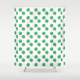 Green flowers on white Shower Curtain