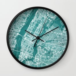 Turquoise Teal Wall Art Showing Manhattan New York City, Brooklyn and New Jersey Wall Clock