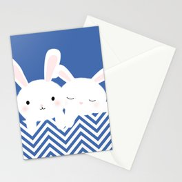 White rabbits Stationery Cards