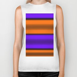 Orange & Purple Horizontal Stripes Biker Tank