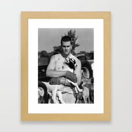 Tom Brady The Goat (B&W) Framed Art Print