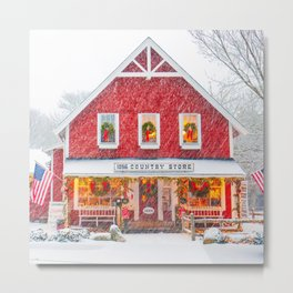 Classic Cape Cod Country Store Christmas Scene Metal Print