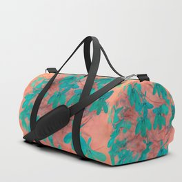 Peach And Turquoise Floral Duffle Bag