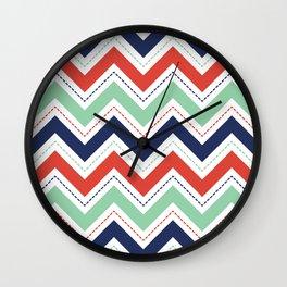 Chevron: Navy, Mint & Coral Wall Clock