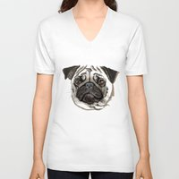 pug V-neck T-shirts featuring Pug by Tish