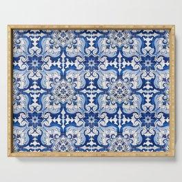 Blue Azulejo Tile Portuguese Mosaic Pattern Serving Tray