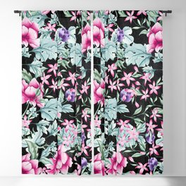 Floral Pattern 1 Black Blackout Curtain