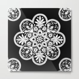 Floral Doily Pattern | Black and White Metal Print