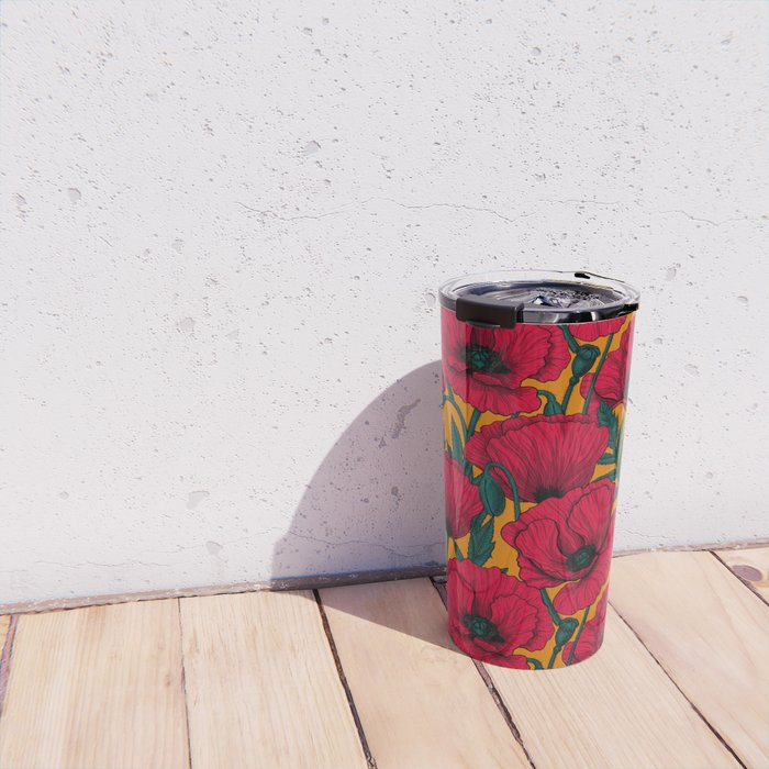 Red poppy garden    Travel Mug
