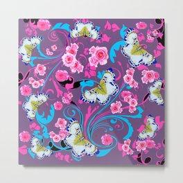 PINK ROSES & BUTTERFLIES  BLUE SCROLLS ART Metal Print