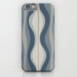 Hourglass Abstract Mid Century Modern Pattern in Neutral Blue Gray Tones iPhone Case