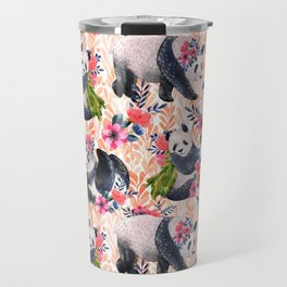 Watercolor pattern with pandas and flowers. Travel Mug