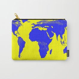 World Map Yellow & Blue Carry-All Pouch