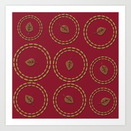 Bright Burgundy Red Copper Leaf Pattern Art Print