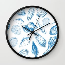 Tropical underwater creatures in blue and white Wall Clock