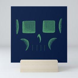 Skull Linework (Green / Dark Blue) Mini Art Print