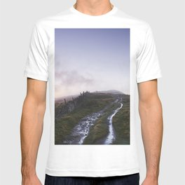 Mountain path and fence at sunset. Derbyshire, UK. T-shirt