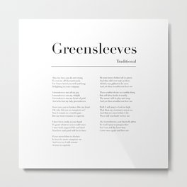 Greensleeves Lyrics Metal Print