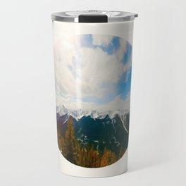Mid Century Modern Round Circle Photo Snow Covered Mountains Meet Autumn Travel Mug