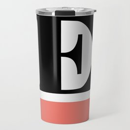Monogram Letter E-Pantone-Peach Echo Travel Mug