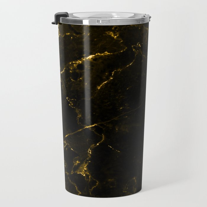 Black Gold Marble Travel Mug