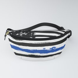 Thin blue line US flag. Flag with Police Blue Line - Distressed american flag. Fanny Pack