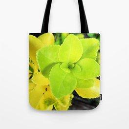 Macro Acid Lime Green Leaves Tote Bag