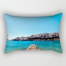 The bay of Baska in a sunny day Rectangular Pillow