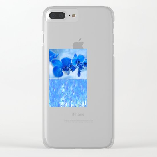 Blue Orchids Clear iPhone Case