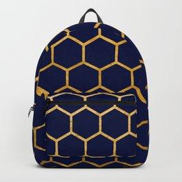 Dark blue on gold foil honeycomb pattern Backpack