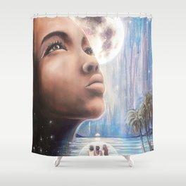 Sister Moon // Woman Goddess Moon Luna Stars Sea Sisterhood Spirit Sacred Wise Healing Energy Wisdom Shower Curtain
