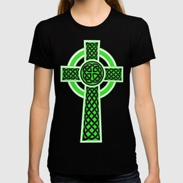 St Patrick's Day Celtic Cross Green and White T-shirt